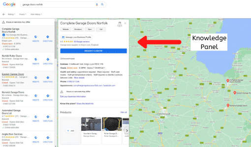 Google maps and the knowledge panel