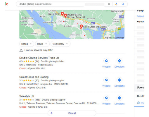Google my business search results for double glazing supplier near me