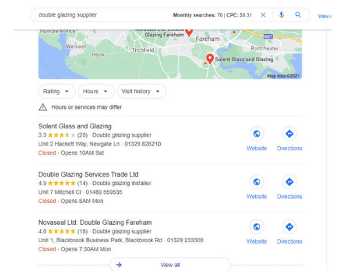 Google my business search results for double glazing supplier