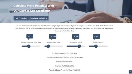 Profit calculator showing 10% increase in average order value