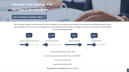 Profit Calculator showing increase in sales conversion rate